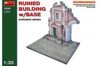 Сборная модель - Ruined building with base - Полуразрушеный дом с частью улицы (MiniArt 36049) 1/35