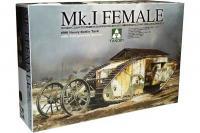 Сборная модель - Mk I Female - тяжелый танк 1-ой Мировой войны (Takom 2033) 1/35