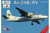 Сборная модель - пассажирский авиалайнер Антонов Ан-24Б/РВ  (AMODEL 1464-01) 1/144