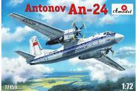 """Сборная модель - самолет Антонов Ан-24 """"Аэрофлот"""" (AMODEL 72159) 1/72"""