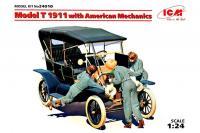 Пассажирский автомобиль Model T 1911 Touring с американскими механиками  (ICM 24010) 1/24