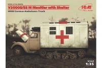 Немецкий автомобиль V3000S/SS M Maultier с санитарной будкой (ICM 35414) 1/35