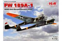 Сборная модель Самолет-разведчик FW 189A-1стран Оси (ICM 72294) 1/72