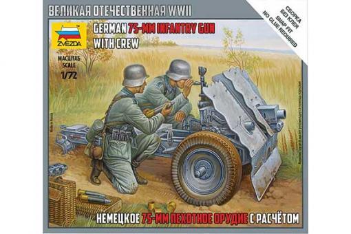 Немецкое 75-мм пехотное орудие с расчетом (ZVEZDA 6156) 1/72